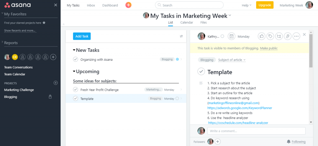 Organized Content using the publishing process of Asana